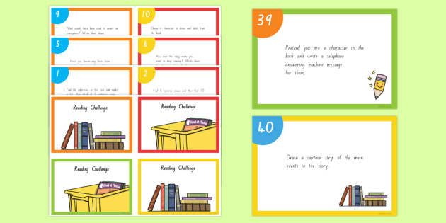 Reading Challenge Cards - nz, new zealand, reading, challenge cards, cards, read