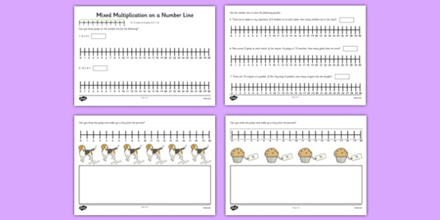 Mixed Multiplication by 2, 3, 5, 10 on a Number Line - mixed, multiplication, 2, 3, 4, 10, number line