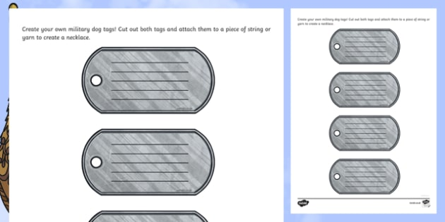 Military Dog Tag Craft Instructions