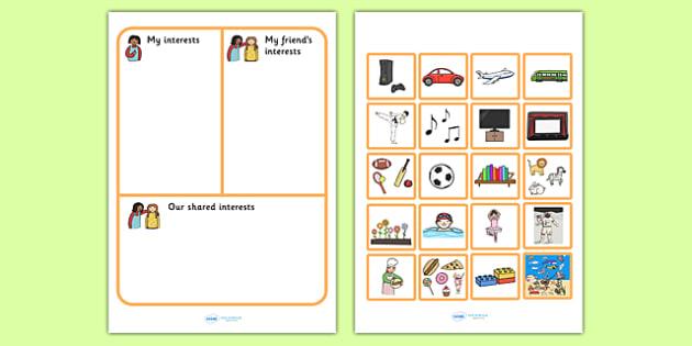 My Interests And My Friends Interests Activity Sheet - SEN , worksheet