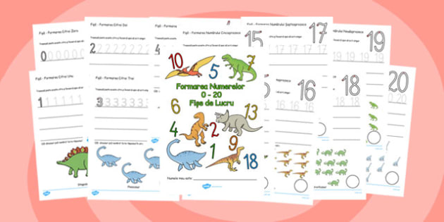 Formarea cifrelor - fise, 0,1,2,3,4,5,6,7,8,9, dinozauri, Romanian, overwriting