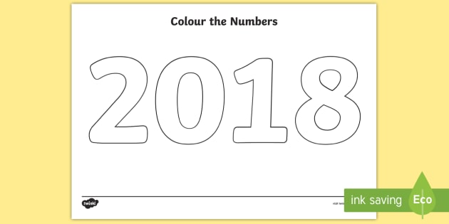 Colour The Numbers 2018 Colouring Page