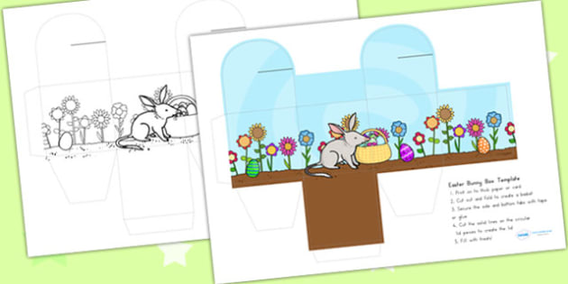 Easter Bilby Box Template - easter, easter crafts, craft, box net