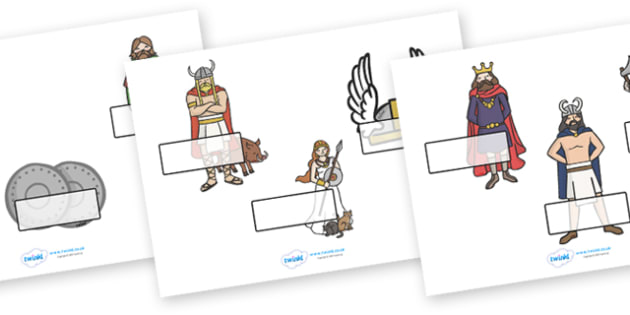 Editable Self-Registration Labels (Vikings) -  Self registration, register, editable, labels, registration, child name label, printable labels, vikings, The Vikings, long boat