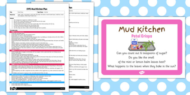 Petal Crisps EYFS Mud Kitchen Plan and Prompt Card Pack - mud kitchen