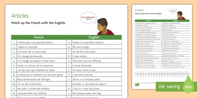 French Articles Match-Up Worksheet / Activity Sheet-French