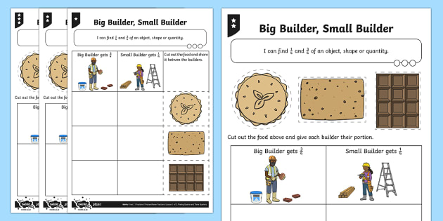 Finding 1/4 and 3/4 Differentiated Worksheet / Activity Sheets - Fractions, builder, 1/4, 3/4, quarter, share, divide