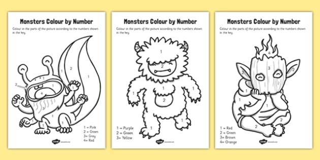 Monsters Colour by Number - monsters, colour, number, numbers