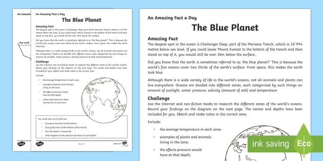 The Blue Planet Worksheet / Activity Sheet - Amazing Fact Of The