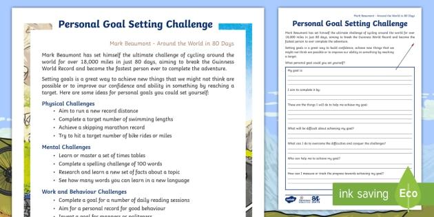Personal Goal Setting Worksheet / Activity Sheet - The World