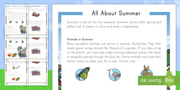 All about Summer Fact File Worksheet / Activity Sheet - summer