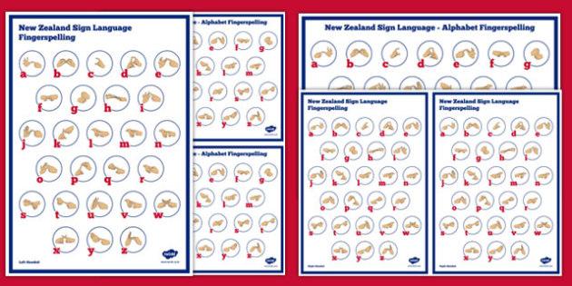 New Zealand Sign Language Alphabet Fingerspelling Poster Pack - nz, new zealand, sign language, new zealand sign language week, alphabet, fingerspelling, poster, pack