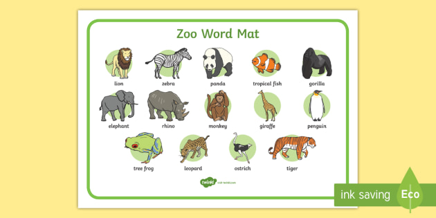 Zoo Word Mat Word Mat Writing Aid Zoo At The Zoo Zoo Resources