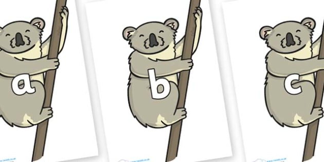 Phase 2 Phonemes on Koalas - Phonemes, phoneme, Phase 2, Phase two, Foundation, Literacy, Letters and Sounds, DfES, display