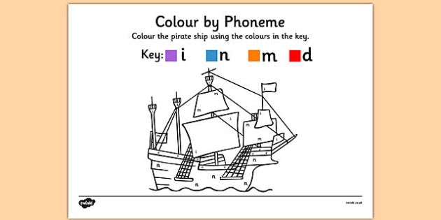 Colour by Phoneme Pirate Ship Phase 2 i n m d - colour, phoneme, pirate ship, phase 2