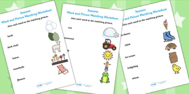 Seasons Word and Picture Matching Sheet - seasons, weather, match