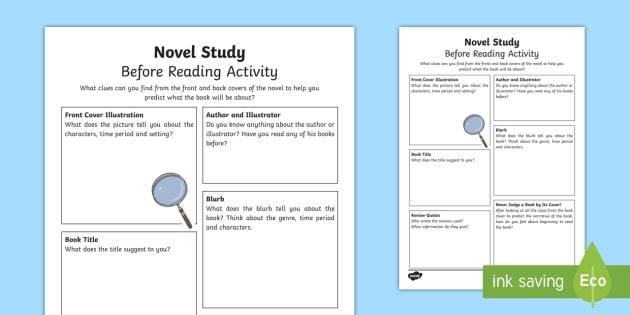 Novel Study Before Reading Worksheet / Worksheet