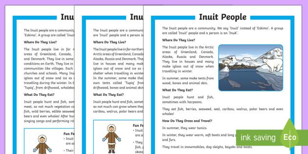 KS1 The Inuit People Differentiated Fact File - Inuit, Inuk, Eskimos, The Arctic, Polar Regions, north pole, indigenous people, igloo, throat singin