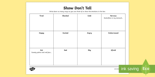 Show Don 39 T Tell Worksheet Worksheet Cfe Writing Show Don 39 T