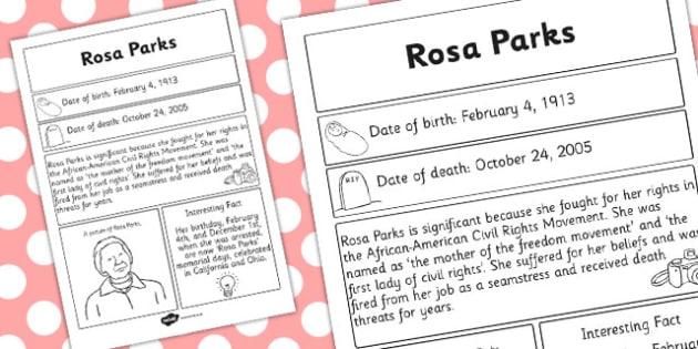 Rosa Parks Significant Individual Fact Sheet Fact Sheet Facts