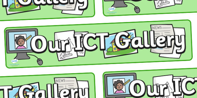 ICT Gallery Display Banner - ICT Gallery Display Banner, gallery, ICT, information and communications technology, display, sign, poster, banner, computer, laptop, monitor, keyboard, mouse, pointer, arrows, backspace, enter, control, Caps Lock
