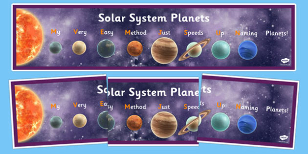 Mnemonic Solar System Display Banner - solar system,mnemonic, sun, system, mercury, display, banner, venus, facts, fact sheet, planet, plantes, display, poster, how to remember, remember, order of planets, sign, earth, mars, saturn, uranus, neptune,