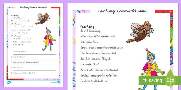 Faschings Leseverständnis Blatt Arbeitsblatt: Lesen und Malen