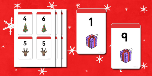 Christmas Number Bonds to 10 Matching Cards - Number Bonds, Matching Cards, Clothing Cards, Number Bonds to 10, Christmas, xmas, tree, advent, nativity, santa, father christmas