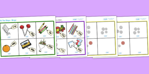 Toy Shop Bingo (Up to 50p) - Money, coins, pounds, pence, foundation numeracy, coin, pay, bingo, shop, addition, prices, price
