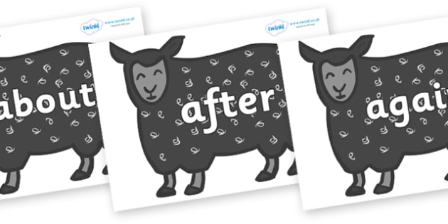 KS1 Keywords on Black Sheep to Support Teaching on Brown Bear, Brown Bear - KS1, CLL, Communication language and literacy, Display, Key words, high frequency words, foundation stage literacy, DfES Letters and Sounds, Letters and Sounds, spelling