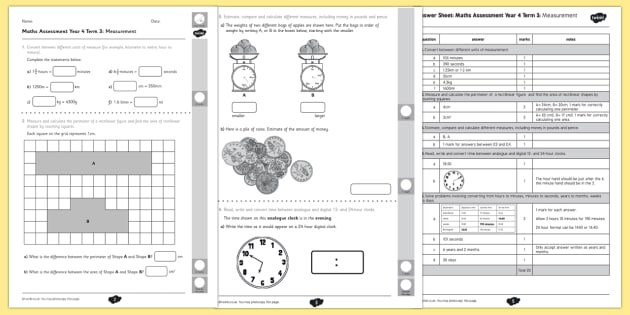 Year 4 Maths Assessment: Measurement Term 3 - maths, assessment, year 4, measurement