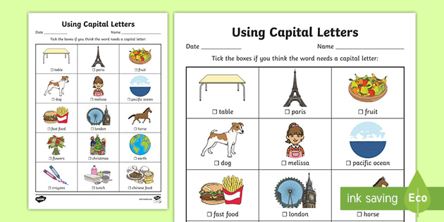 Using Capital Letters Worksheet - Primary Resources - Twinkl