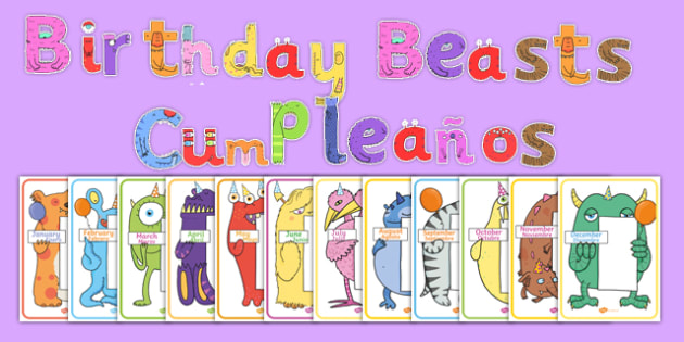 Birthday Beasts Display Pack Spanish Translation - spanish, sign, label, display, birthday, month, monster, beast, creatures