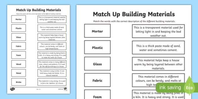 Match up building materials worksheet activity sheet Material list for building a house spreadsheet