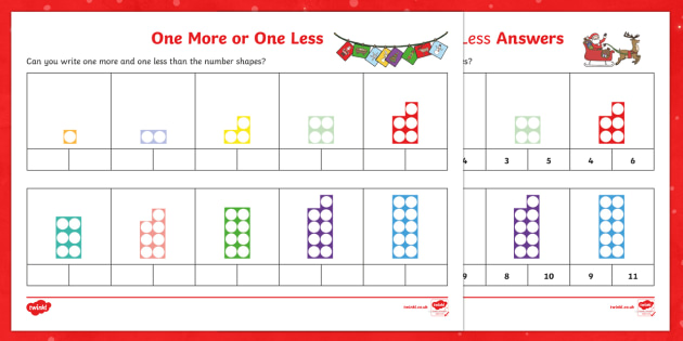 One More Or One Less Christmas Themed Number Shape Worksheet Activity