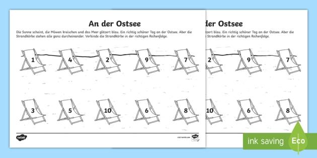 An der Ostsee Arbeitsblatt: Zahlen - Sommer, Jahreszeiten