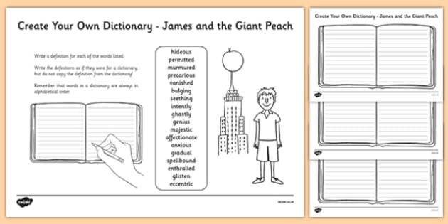 James and the Giant Peach Key Vocabulary Create Your Own Dictionary