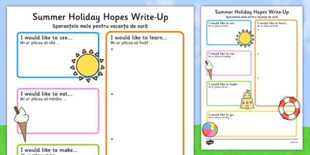 Summer Holiday Hopes Write Up Worksheet / Activity Sheet Romanian Translation - romanian, seasons, writing sheet, worksheet