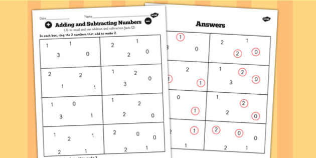 Number Facts to 20 Find Pairs to 2 Worksheet - number, facts, 2