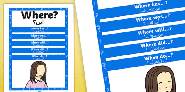 Where Question Poster Arabic Translation - posters, displays, display, questions