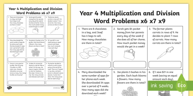 year 4 multiplication and division word problems worksheet. Black Bedroom Furniture Sets. Home Design Ideas