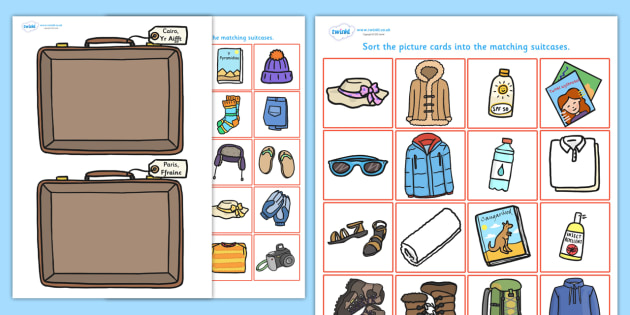 Holiday Clothes Sorting Activity Welsh - roleplay