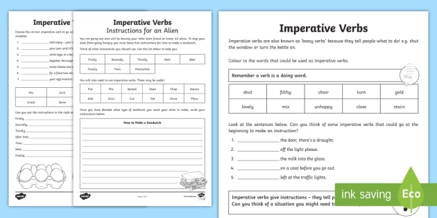 Imperative Verbs Bossy Words Worksheet Imperative Verbs