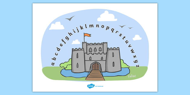 Castles and Knights Alphabet Arc - Alphabet Arc, castle, mat, DfES Letters and Sounds, Letters and sounds, Letters A-Z, Learning Letters, Phase one, Phase 1 Foundation Letters