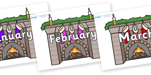 Months of the Year on Fireplaces - Months of the Year, Months poster, Months display, display, poster, frieze, Months, month, January, February, March, April, May, June, July, August, September