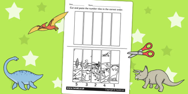 Dinosaur Themed Number Sequencing Puzzle - numbers, order, sort