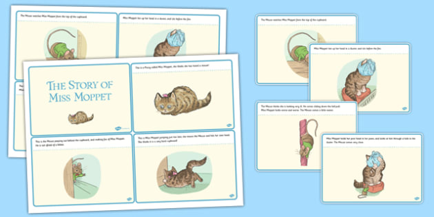 The Story of Miss Moppet Story Cards - beatrix potter, tale, traditional, fun, activity, animals, characters, retell, pictures, illustrated, share, ks1, key stage 1, early years, english, literacy,