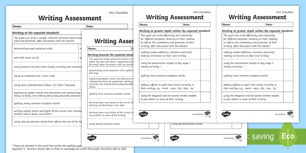 *NEW* KS1 Exemplification Checklists - test, diagnostic, summative, formative