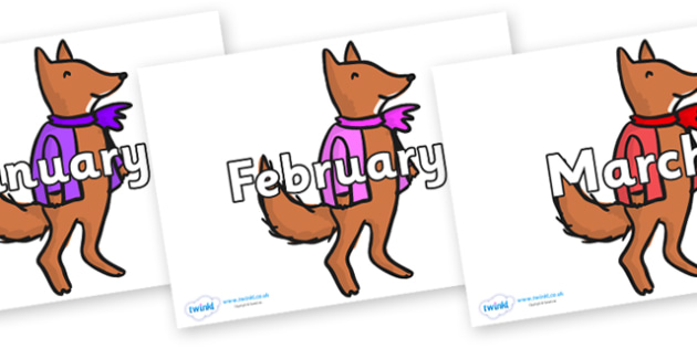 Months of the Year on Small Fox 4 to Support Teaching on Fantastic Mr Fox - Months of the Year, Months poster, Months display, display, poster, frieze, Months, month, January, February, March, April, May, June, July, August, September