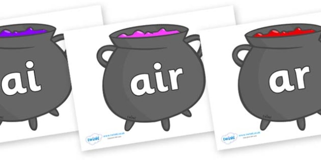 Phase 3 Phonemes on Cauldrons (Plain) - Phonemes, phoneme, Phase 3, Phase three, Foundation, Literacy, Letters and Sounds, DfES, display